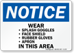Notice Wear Various Protection Sign