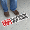 Welcome Please Maintain Social Distance SlipSafe Floor Sign