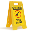 Caution Wet Paint W/Graphic Fold-Ups® Floor Sign