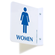 2 Sided Projecting Women's Restroom Sign