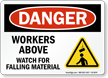 Workers Above Watch For Falling Material Sign