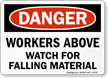 Danger Workers Above Watch Sign