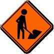 Worker Symbol - Road Warning Sign