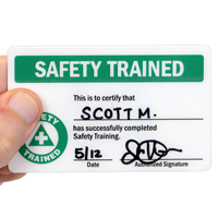Safety Trained Self Laminating Wallet Card, 2-Sided