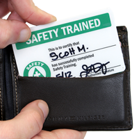 Safety Trained withSymbol Self laminating Trainning Wallet Cards