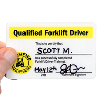 Double-Sided Qualified Forklift Driver Self Laminating Wallet Card