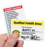 Self Laminating Forklift Wallet Cards