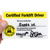 Certified Forklift Driver Self Laminating Wallet Card, 2-Sided