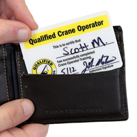 2-Sided Qualified Crane Operator Self Laminating Wallet Card