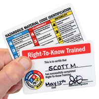 Double Sided Certification of Successfully Completed Right-To-Know Training