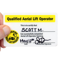 Qualified Aerial Lift Operator, Wallet card