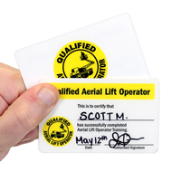 Qualified Aerial Lift Operator Safety Wallet Cards