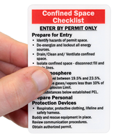 Confined Space Trained Safety Wallet Cards
