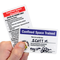 2 - Sided Confined Space Trained Self Laminating Certification Wallet Card