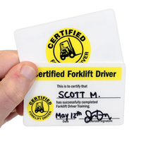Self Laminating Certified Forklift Driver Wallet Card (2-Sided)