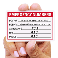 Self Laminating Emergency Contact Numbers Wallet Card