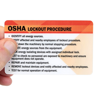 OSHA Lockout ProcedureWith Heavy-Duty Laminated Single Safety Wallet Card