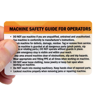 Machine Safety Guide For Operators Heavy-Duty Wallet Card