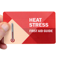 Heat Stress First Aid Guide With Heavy-Duty Laminated Single Safety Wallet Card