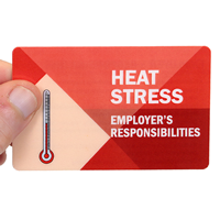 Heat Stress Employer's Responsibilities With Heavy Duty Laminated Single Safety Wallet Card