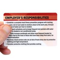 Heat Stress Employer's Responsibilities Wallet Card