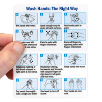 Fold-over Wash Hands The Right Way Safety Wallet Card