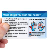 Wash Hands The Right Way, Fold-over (Bi-Fold) Laminated Safety Wallet Card