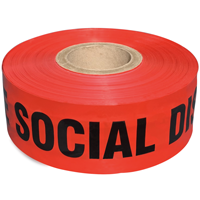 Red social distancing barricade tape