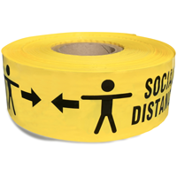 Barricade tape for social distancing in yellow