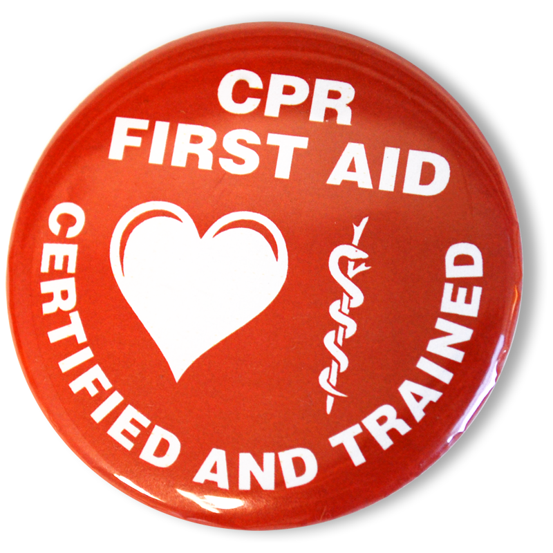 CPR First Aid Certified and Trained Buttons