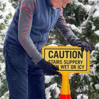 Icy stairs are slippery sign