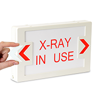 LED Exit Sign with Battery Backup: X-Ray In Use - Red Lettering, White Background