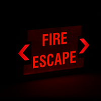 Fire Escape LED Exit Sign with Battery Backup