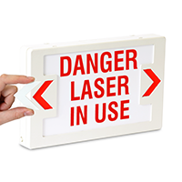 Danger Laser In Use - Red Lettering,LED Exit Sign