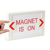 Magnet is On - Red Lettering,LED Exit Sign