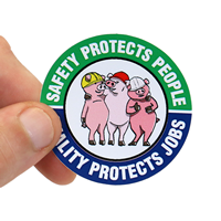 Safety Protects People Hard Hat Label