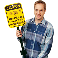 Caution - Honey Bees At Work Lawn Boss Sign