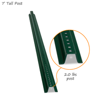 Heavy Duty Municipal Quality U-Channel Sign Post - 7' tall (with nuts & bolts)