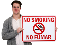 No Smoking Fumar Signs