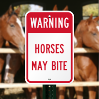 Warning - Horses May Bite Sign