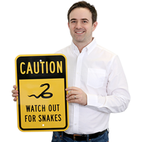 Caution - Watch Out For Snakes, Safety Sign
