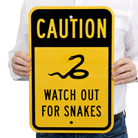 Caution Watch Out For Snakes Sign