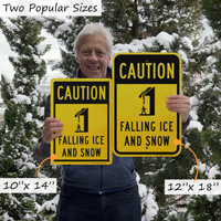 Falling ice and snow caution sign