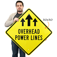 Overhead Power Lines Sign