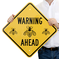Warning Ahead-Bee Safety Sign