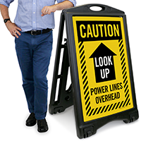 Look Up, Power Lines Overhead Caution Sign