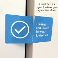 Sealed room sticker that breaks apart when you open the door