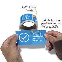 Door stickers have a perforation that allows the sticker to break apart when you open the door into a sanitized room