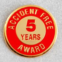 Accident Free Award 5 Years Metal Lapel Pin