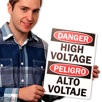 Danger High Voltage Signs Bilingual